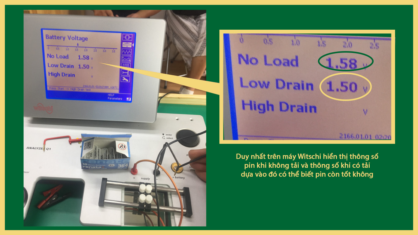 đo pin đồng hồ bằng máy chuyên dụng Witschi