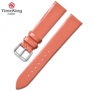 Dây da TimeKing 6003B hồng nhũ bóng